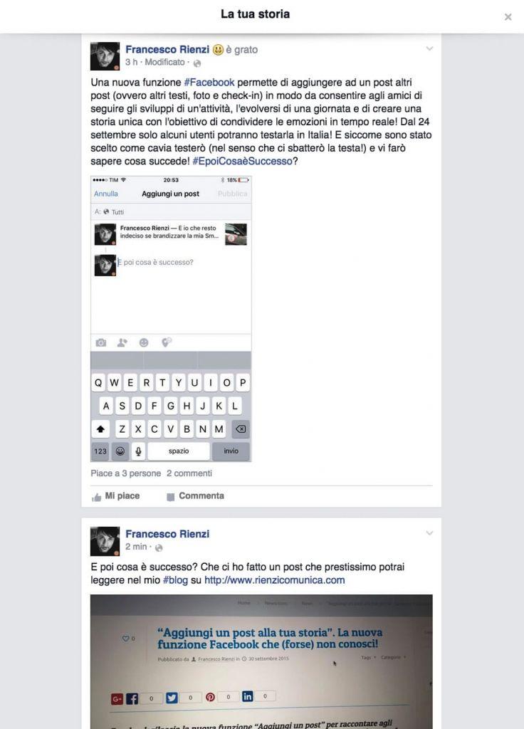 Facebook - Aggiungi un post alla tua storia